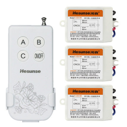 Y-F211B1N3 Free Shipping 220V 315mhz 3 Ways Wireless Digital Remote Control Switch With 3 Receivers + Manual Switch Function free shipping y b23 2n1 220v 315mhz 10a