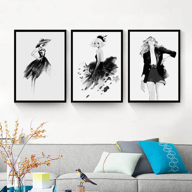Black White Figures Painting Wall Decor Painting Fashion Girls