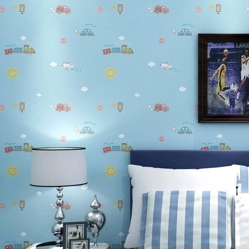 beibehang papel de parede para quarto Room Living Room Wallpaper Roll Cartoon Car Boy Tapet for Wall papel parede 3D Blue White