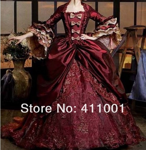 Burgundy Renaissance Victorian Period Costume Gothic Marie Antoinette Southern Belle Dress Ball Gown Prom