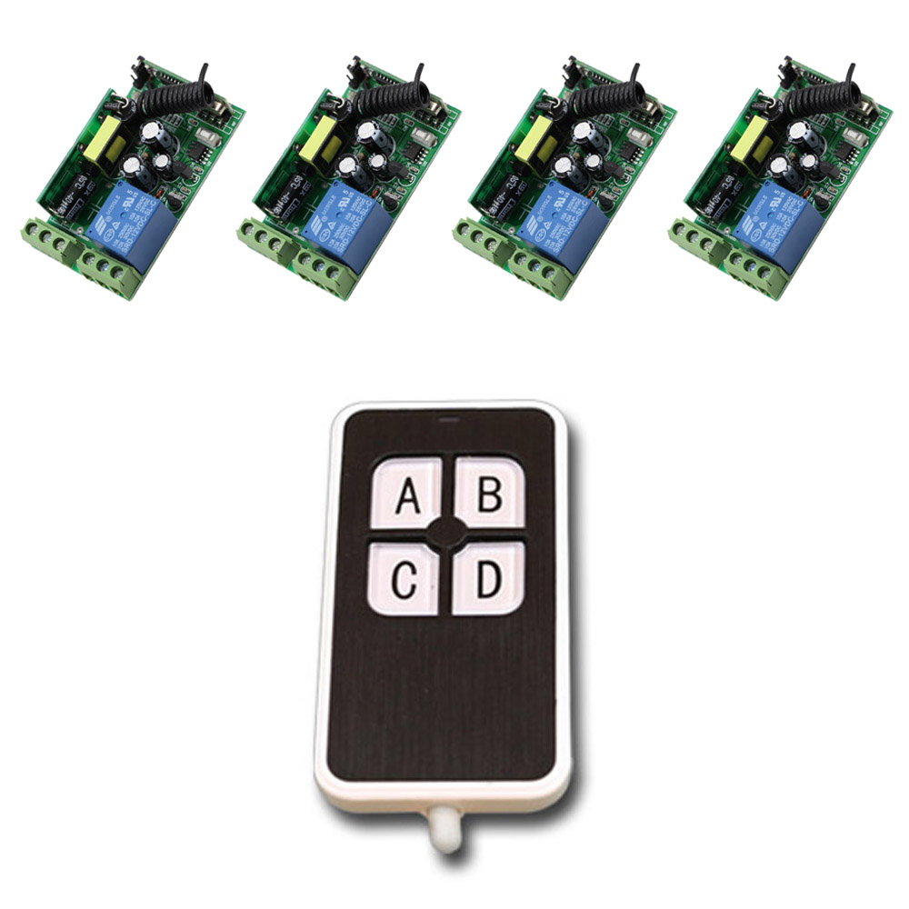Latest 1CH 10A RF Wireless Remote Control Switch System 4pcs Receivers and Transmitter 315/433mhz AC 85V 110V 120V 220V 250V ac 85v 250v 1ch rf wireless remote control switch system 1 transmitters