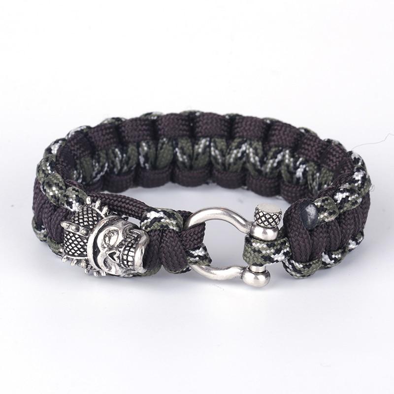 KEJIALAI Wholesale Silver Crown Metal Skull Style Bracelets Braided Unisex Dark Cotton Thread Bracelets Casual Pulseras YSBR003
