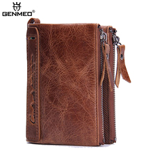 купить GENMEO New Arrival Genuine Leather Wallet Men Cow Leather Purse with Card Holders Men Clutch Bag with Zipper Coin Purse Bolsa по цене 1143.71 рублей