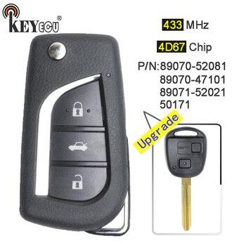 KEYECU 433 mhz 4D67 Chip di P/N: 50171 89070-47121/52021/52081 Aggiornato di Vibrazione Pieghevole 2 Tasto Chiave A Distanza Dell'automobile Fob per Toyota RAV4