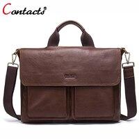 Contact S Genuine Leather Bag Men Bag Large Leather Handbag Men Laptop Briefcase Shoulder Crossbody Bag