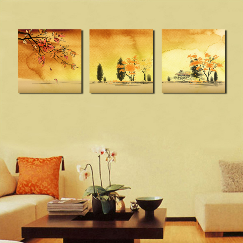 BPAGO Impressionist Large 3 Panel Autumn Yellow Forest Painting ...