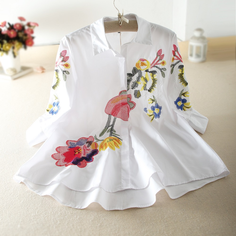 Spring Women's Irregular Shirts Luxury Vintage Retro Floral Embroidery Casual Elegant Blouses  Feminino Blousa Party Tops NS225