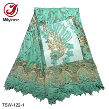 Hot Selling Nigerian Lace Fabric with Beads Embroidery Tulle Wholesale French for Dress TSW-122