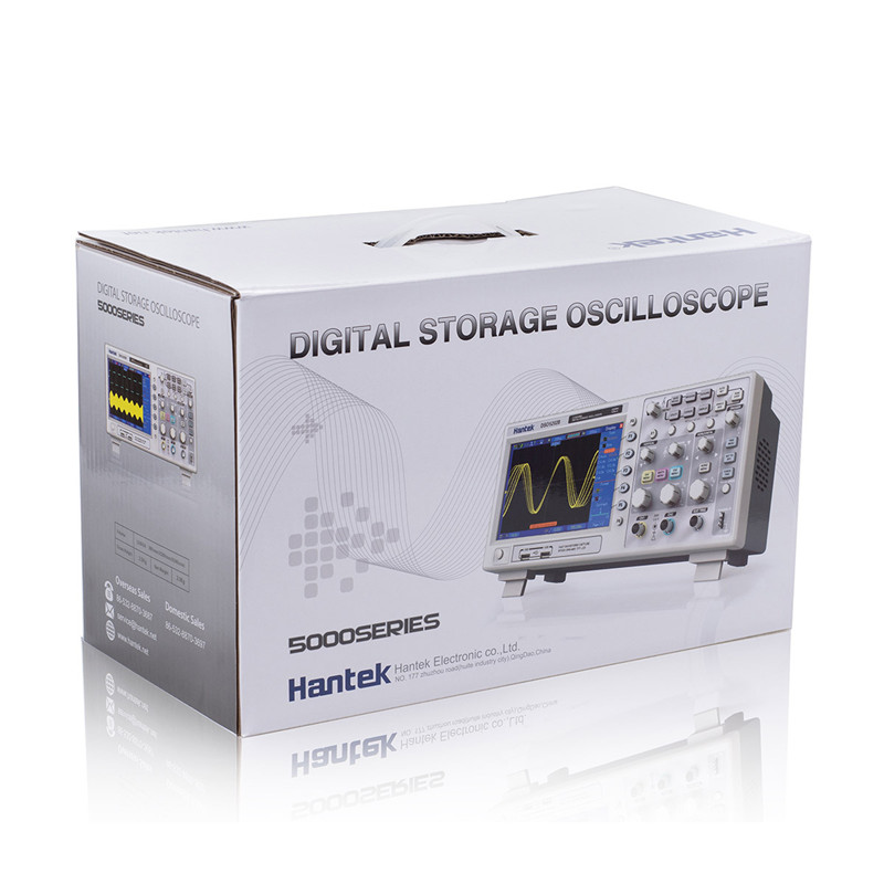 Купить с кэшбэком Oscilloscope hantek dso5202p Digital storage oscilloscope 200MHz 2Channels 1GSa/s LCD Record Length 40K USB oscilloscope