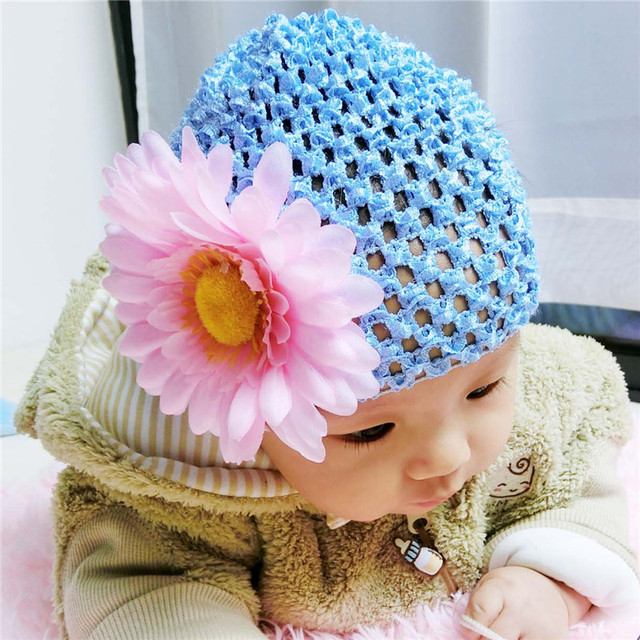 3202d83f32b Baby Hat Big Floral Baby Girls Hats Flower Baby Girls Caps Children s  Autumn Spring Hats For Girls Kids Handmade Photography Pro