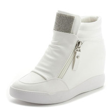 YeddaMavis Shoes Women Hidden Wedge Heels Famale Casual Spring 2019 Fashion High-Top White Rhinestone Flats