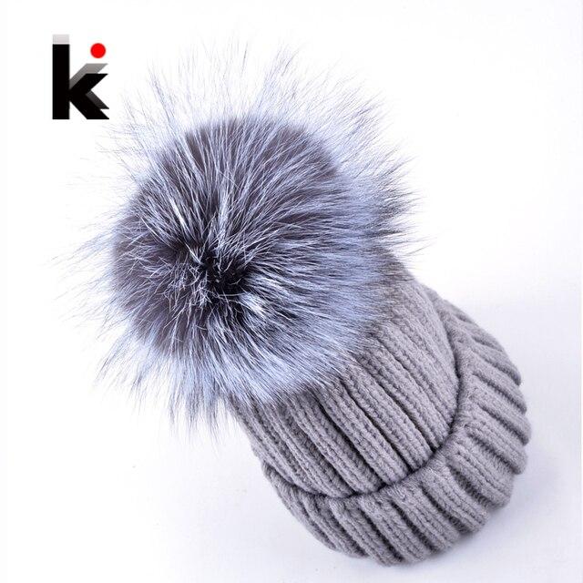2017 Fashion winter cap female beanies fox fur big ball knitted hat bonnet hats for woman skullies