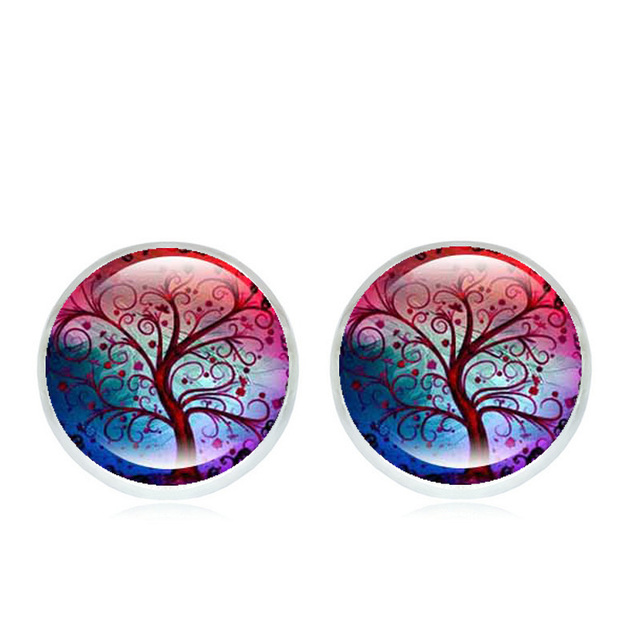 0cd27763b 8 Style Stud Earrings Tree of Life Art Glass Cabochon Ear Studs Fashion Jewelry  Silver Earrings for Women Gifts Wholesale