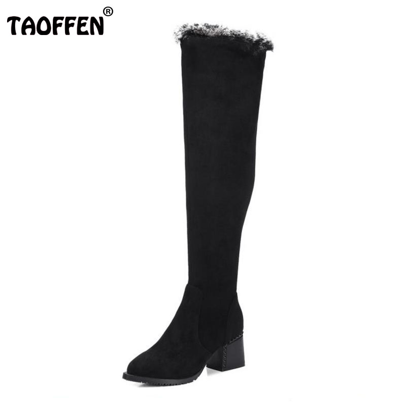 TAOFFEN Size 33-41 Warm Real Leather Winter Shoes Women Thick High Heel Over Knee Snow Boots Women Zip Pointed Toe Elastic Bota цена
