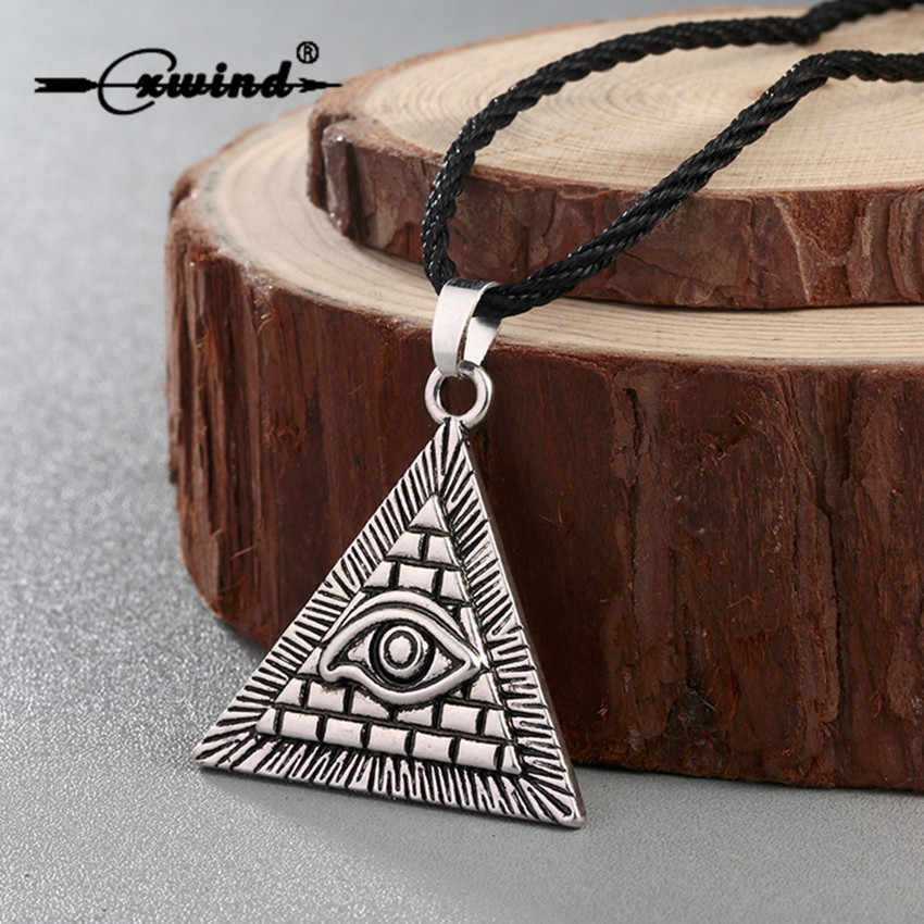 Cxwind Vintage Egypt Pyramid All-Seeing Evil Eye Illuminati Necklace Egyptian Charm Triangle Pendants Necklaces Punk Jewelry