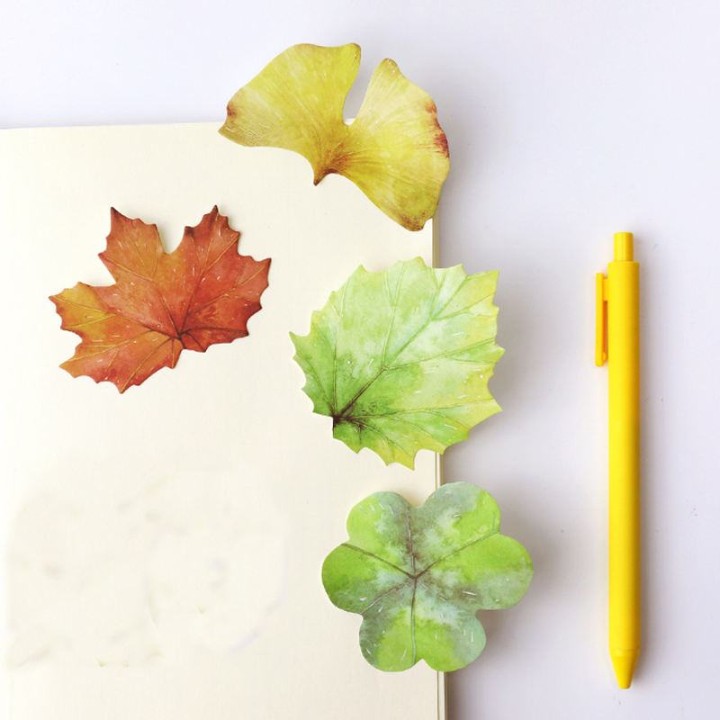 4 Pcs Lot Cute Vintage Leaf Sticky Note Green Plant Post It Memo Pad Bookmark Stationery Office Accessories School Supplies In Pads From