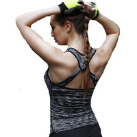 Fitness Tank Top Women Summer Tops 2017 Back Cross Workout Compression Clothing Quick Dry Candy Colors