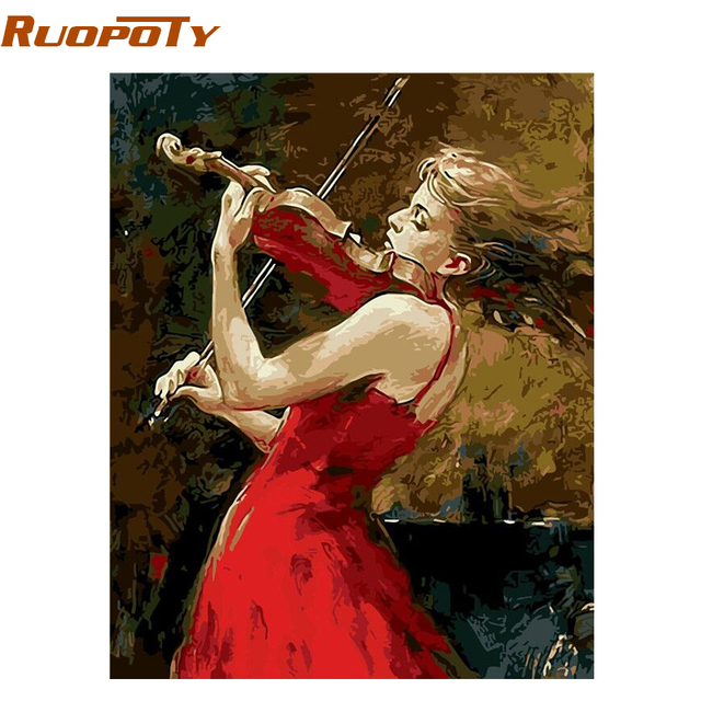 RUOPOTY Frame Violin Girl DIY Painting By Numbers Wall Art Picture Calligraphy Painting Kits Coloring By Numbers For Home Decor