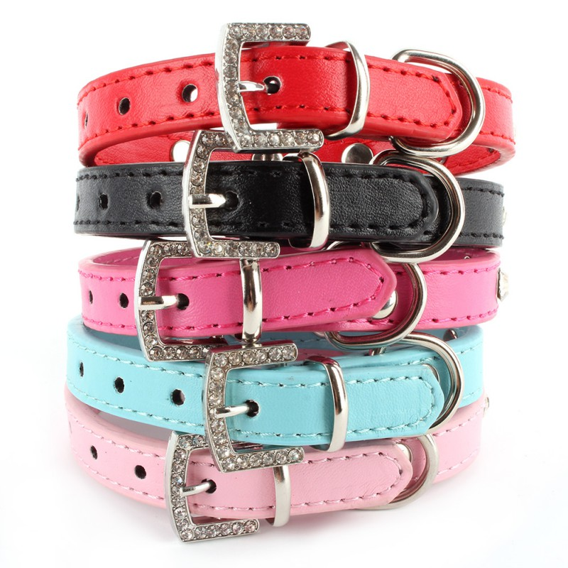 Little Pet Dog Cat Puppy Bling Rhinestones Crystal Heart Leather Collar XS/S/M/L