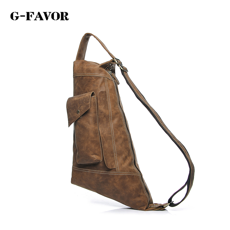 Hot 2016 New brand design fashion Crazy horse genuine leather bag chest pack men messenger bags vintage shoulder bags masculina famous brand men chest bags theftproof open fashion leather travel crossbody bag man messenger bag crazy horse leather bag chest
