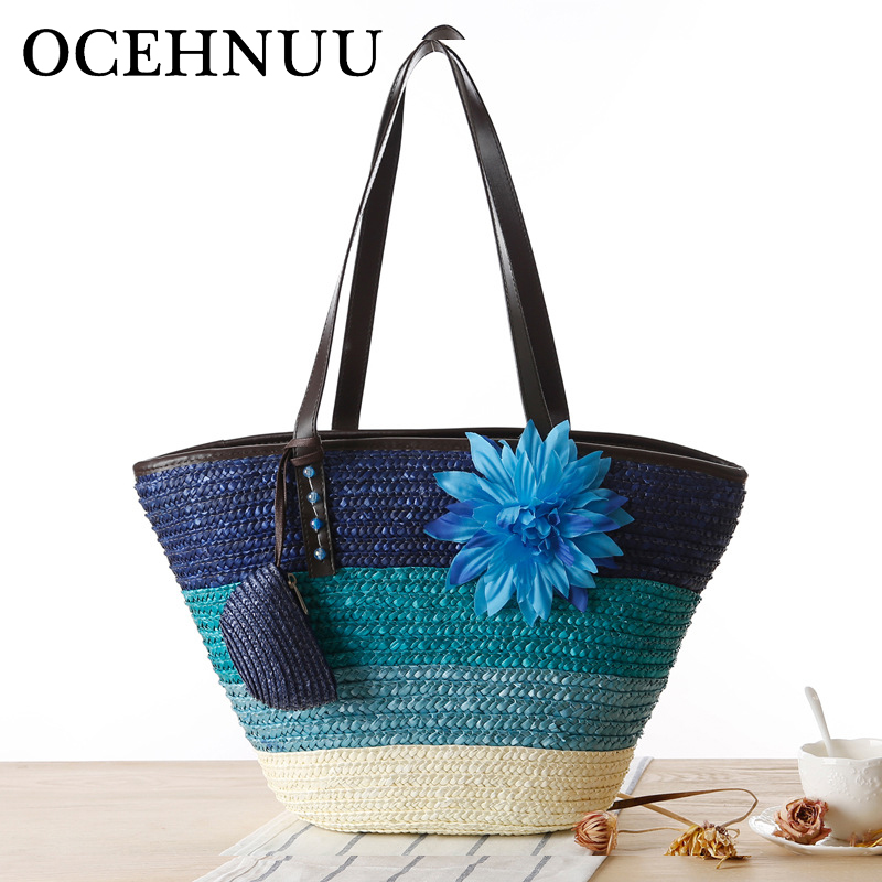 OCEHNUU Beach Bags Women Woven Straw Handbags Summer Fashion Big Ladies Hand Bags 2018 Large Women'S Shoulder Bag Flower Zipper beach straw bags women appliques beach bag snakeskin handbags summer 2017 vintage python pattern crossbody bag