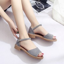Women Simple 2019 Fashion Open Toe Shoes Suede Buckle Strap Casual Dress Low Heel Solid Summer Comfortable Ladies Sandals prova perfetto suede tassel belt buckle women sandals metal decoration open toe flat heel fashion casual summer shoes sandals