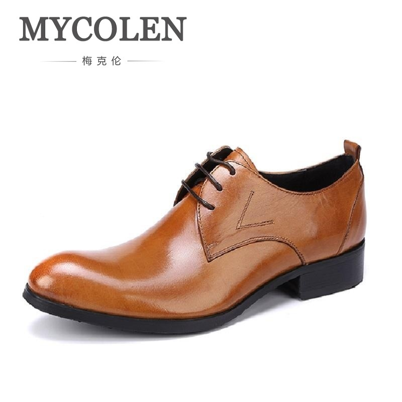 MYCOLEN Men Leather Dress Shoes Fashion Breathable Business Wedding Shoes British Style Lace-Up Flat Shoe Mens Oxfords zapatos fashion party wedding shoes patent leather business oxfords men dress shoes lace up formal flats shoes career flat zapatos male