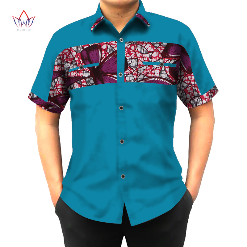 Custom african print clothing shirt men short sleeve for Custom printed dress shirts