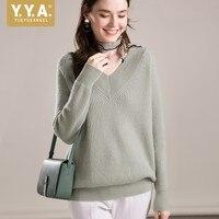 Высокое качество 100% кашемировый свитер женская одежда осень v образный вырез пуловер вязаный Топ Леди дна свитера джемперы женские зимние