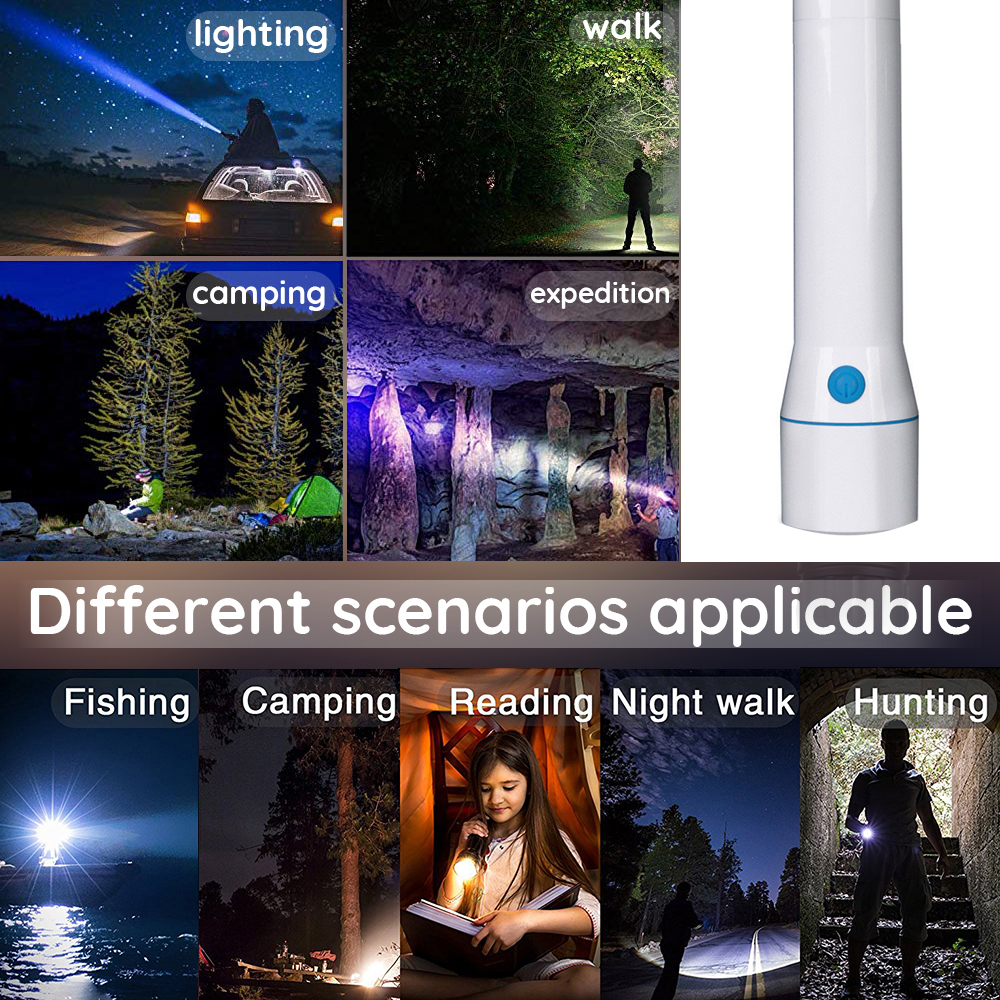 Купить с кэшбэком Simple creative LED Flashlight Color temperature 8000-12000K Super bright Torch Powered by 4 AA batteries for home, outdoor