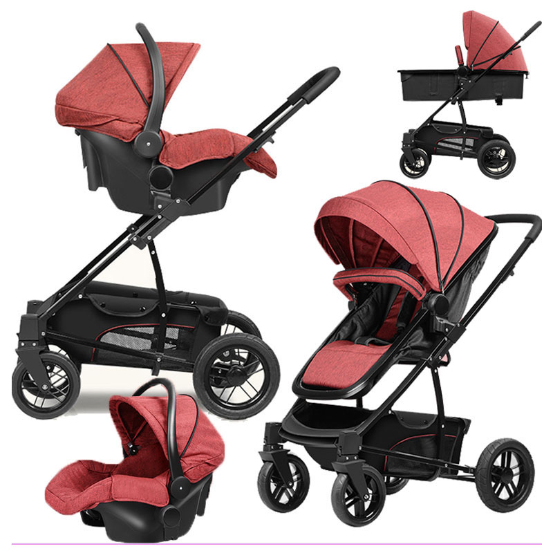 High View Baby Stroller 3 In 1 Baby Cradle Portable Car Comfort Basket Luxury Baby Trolley Carriage Folding Wheelchair Pushchair baby stroller high landscape trolley baby car wheelchair 2 in 1 prams for newborns baby portable bassinet folding baby carriage