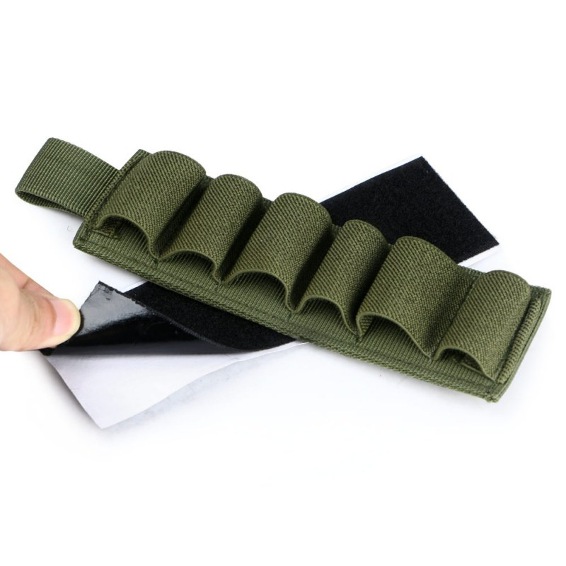 Outdoor Portable Tactical 6 Round Shotgun Buttstock Shell Bullet Holder Adhesive Strip Nylon Pouch Ammo Airsoft Hunting