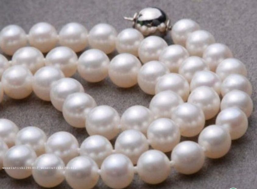 Free Shipping >> classic 9-10mm AAA+ White South Sea natural Round Pearl Necklace 18 inch - цена и фото