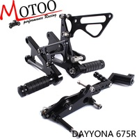 Motoo Full CNC Aluminum Motorcycle Adjustable Rearsets Rear Sets Foot Pegs For TRIUMPH DAYTONA 675R 2006 2012