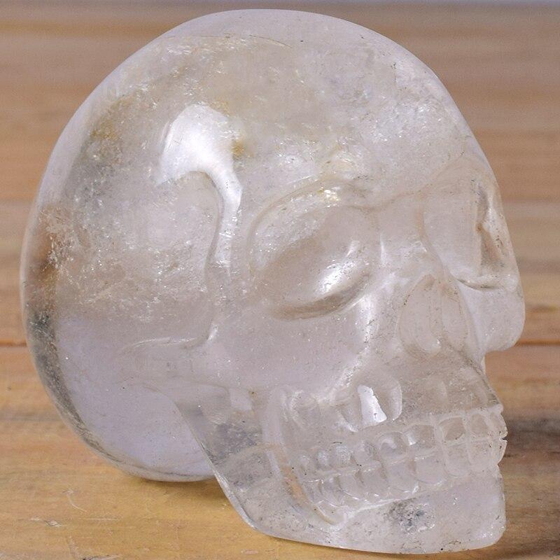 A + Roccia di Quarzo Reiki Umani Cranio Figurine Statua Sculture Intagliato A Mano di Pietra Naturale Del Cranio Per Complementi Arredo Casa 3