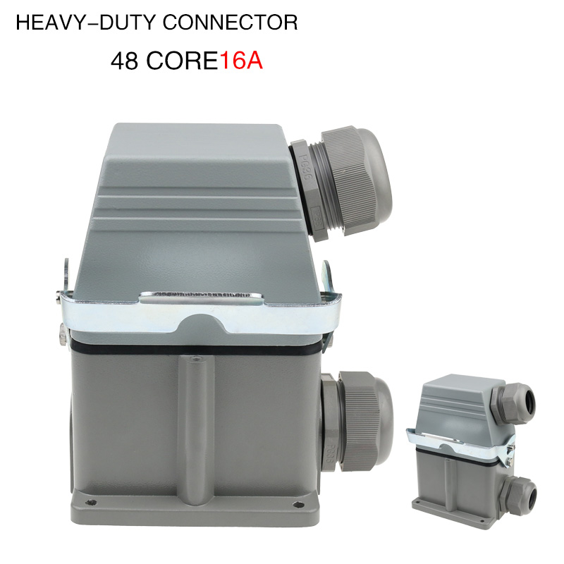 heavy duty connector Hdc-he-048 rectangular high base 48-core industrial waterproof aviation plug socket 16A heavy duty connectors hdc he 024 1 f m 24pin industrial rectangular aviation connector plug 16a 500v