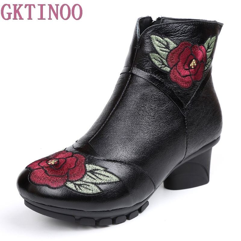 Genuine Leather Winter Women Shoes Fashion Embroider High heels Round Toe Floral Ankle Boots Square Heels Size 35-41Genuine Leather Winter Women Shoes Fashion Embroider High heels Round Toe Floral Ankle Boots Square Heels Size 35-41