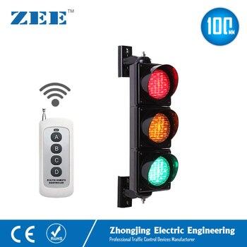 Controlador inalámbrico, 3x100mm, LED, semáforo, rojo, ámbar, verde, luz LED de tráfico, mando a distancia, hasta 100m