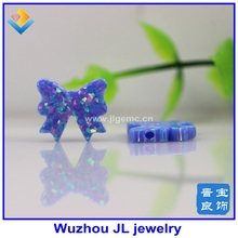 ( 2 pcs/lot ) Synthetic (Opal bow Beads 11.5*12mm OP74 Blue Full Drilled Fire Opal bow Stone Beads for Bracelet/ Necklace