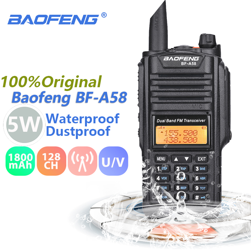 Baofeng BF-A58 Talkie Walkie IP67 Marine Étanche UHF VHF Dual Band Two Way Radio Transceiver Station Jambon Radio Baofeng UV-9R