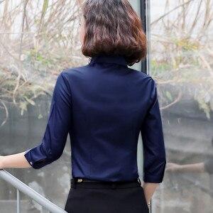 Image 2 - Formal algodão camisa feminina moda ol magro meia manga blusa 2019 verão nova carreira de negócios escritório senhoras trabalho mais tamanho topos