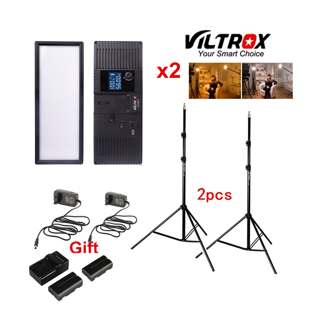 Viltrox L132T Bi Color Dimmable LED Video Light x2 2x Light Stand AC Adapter battery charger