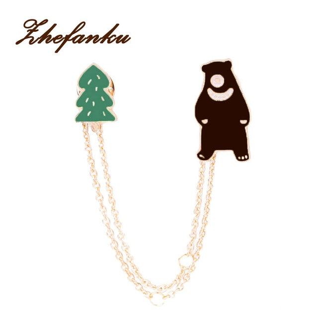 Cartone animato animale coniglio spilla orso spilla pin con catene