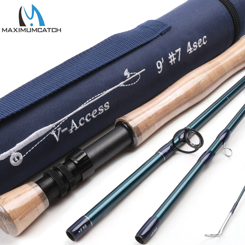 Maximumcatch V-access 3/4/5/6/7/8/9/10/12wt Fly Fishing Rod 8ft-9ft Carbon fiber Fast Action Fly Rod With Cordura Tube цена