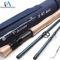 Maximumcatch v-access 3/4/5/6/7/8/9/10/12wt mosca caña de pescar 8ft-10ft fibra de carbono acción rápida mosca Rod con tubo de Cordura