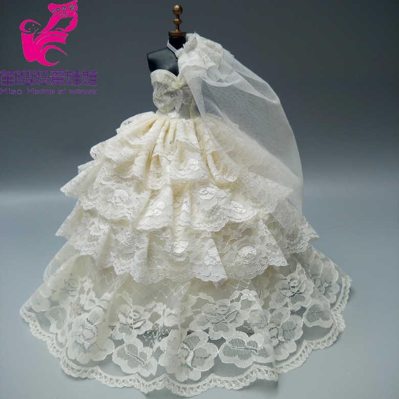 9677a1a1735029a Бесплатная доставка Подарочное платье невесты для куклы Барби белое  свадебное платье с вуалью
