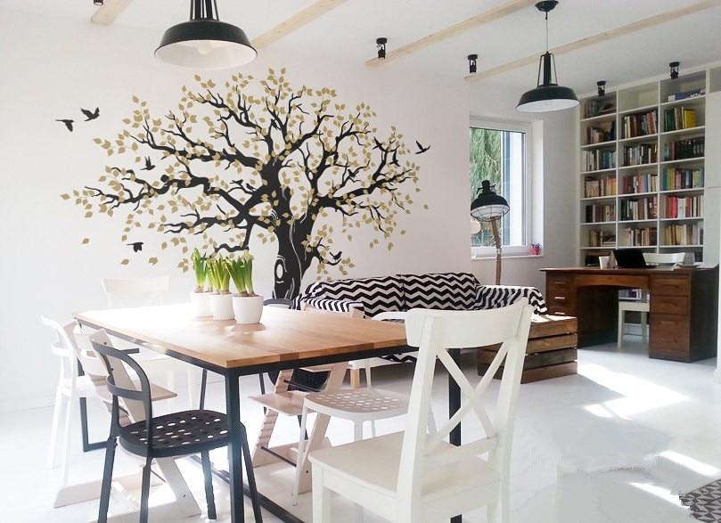 269X233cm árbol de primavera pegatina de pared de vinilo grande árbol pegatinas de pared decoración del hogar Adhesivo de pared adesivo de parede arvore mural D984C - 3