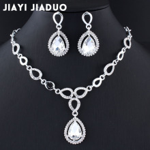 jiayijiaduo Wedding Jewelry set crystal Necklace earrings set for the charm of women Silver color jewelry gift drop shpping 2017