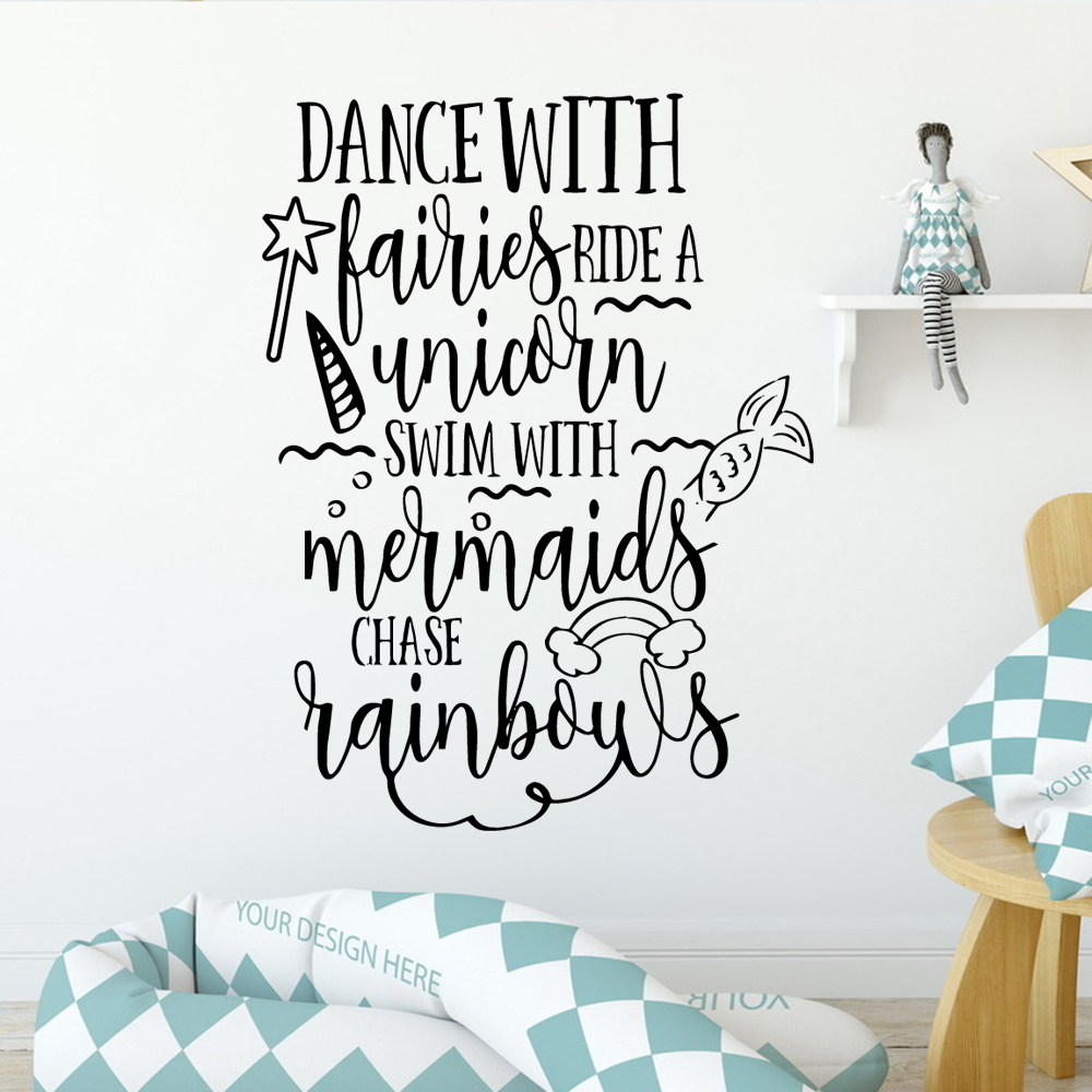 Cartoon English Sentences Family Wall Stickers Mural Art Home Decor For Kids Rooms Decal Creative