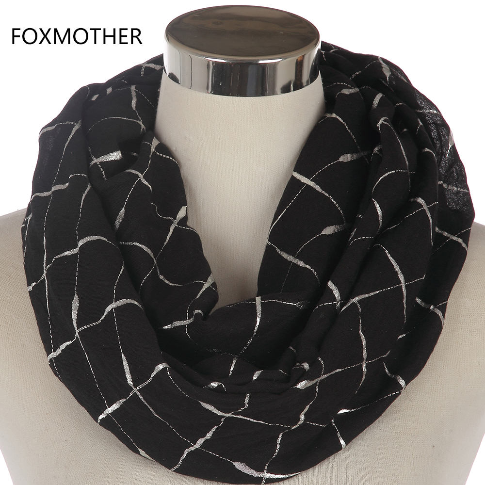 FOXMOTHER New Fashion Ladies Black Pink Grey Metallic Foil Silver Plaid Check Pattern Snood Infinity Scarf For Womens